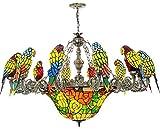 DIMPLEYA Tiffany Retro Office Post Modern Nordic Personalidad Parrot Garden Glass Chandelier Muebles De Sala De Estar 46
