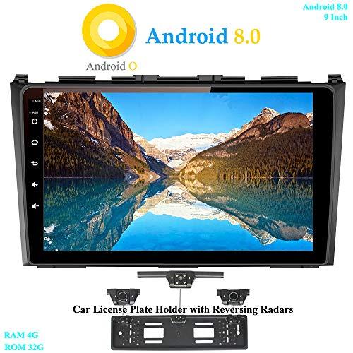 XISEDO Android 8.0 Autoradio 9 Pouces Écran Tactile in-Dash Voiture Radio 8-Core RAM 4G ROM 32G Autoradio pour Honda CRV (2008-2010) (avec Cadre de Plaque d'immatriculation avec Radar de Recul)