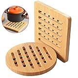 Trivet Bamboo Trivet hot pads trivet,heat resistant mats,Set for Hot Dishes/Pot/Bowl/Teapot/Hot Pot Holders (2)