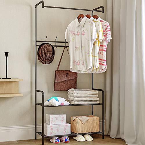 Mivnue Metal Garment Rack Heavy Duty Freestanding Clothes Rack with Top Rod and 2 Tier Lower Storage Shelf Industrial Clothing Rack for Indoor Bedroom  Black