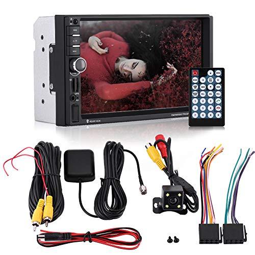 100% nuevo, de alto rendimiento, universal, de 7 pulgadas, pantalla táctil HD, Bluetooth, coche, reproductor MP5, radio FM, GPS, cámara de visión trasera con control remoto AUX