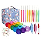 15 Crochet Thread Balls & 10 Lace Crochet Hooks with Storage Bag, 100% Cotton Thread with 2 Tatting Shutters Tools