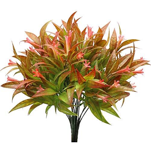 KostaTech 4 Pezzi Pianta Artificiale Morning Glory, 30cm Foglie Artificiali Bouquet Decorazione Primaverile per Ornamenti da tavola Interno Esterno Giardino Home Office (Rosso)