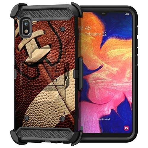 Compatible with Samsung Galaxy A10e / Samsung Galaxy A20e | Triple Protection Heavy Duty Kickstand Swivel Holster Belt Clip Case by Untouchble - Football