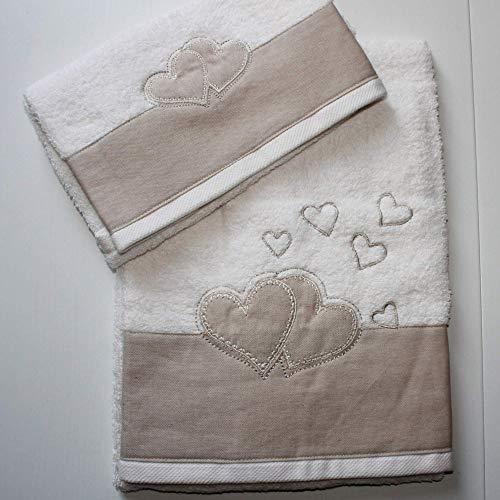 RICAMI FIORENTINI BALDI Stickereien, 2 Schwamm, Leinen in Herzen, Visier+OSPITE Baumwolle, 100% cremeweiß