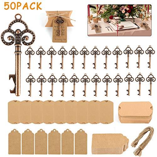 GoMaihe 50 Stück Gastgeschenke Tischdeko Hochzeit Geschenke für Gäste, Vintage Bronze Flaschenöffner Schlüssel Personalisiert mit Geschenkanhänger, 10x7cm Kleine Geschenkschachtel Geschenkboxen