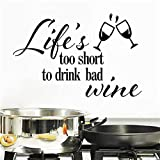 La vida es demasiado corta para beber malas palabras de vino citas de la pared etiqueta de la pared decoración para el hogar calcomanías de vinilo Fotomural Fondo de pantalla 43x66cm