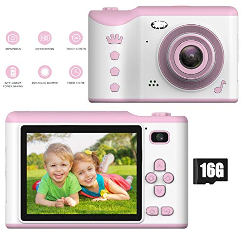 PTHTECHUS Cámara Digital para Niños con 16GB Tarjeta TF & Acollador, 2 Objetivos Selfie 8.0MP 1080P HD Video Cámaras, 2.8 Pulgada LCD Pantalla a Color, Carcasa de Silicona, Rosa