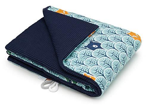 EliMeli BABYDECKE Kuscheldecke 100% Baumwolle - Warme Baby Decke aus Waffelstoff mit Füllung Kinderwagendecke Geschenke für Junge und Mädchen neue Kollektion (Marineblau - Teddybären)