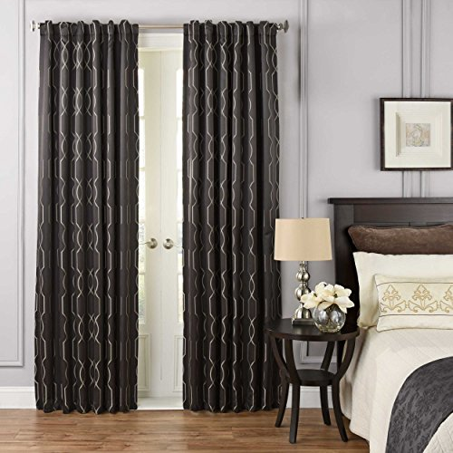 "BEAUTYREST 52"" x 108"" Window Treatment Thermal Insulated Single Panel-Rod Pocket Darkening Curtains for Living Room, Raven"
