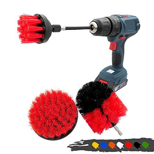 4 unids/set cepillo limpiador cepillo cepillo cepillo cepillo cepillo de limpieza con barra de extensión para la lechada del coche ducha cocina auto cuidado herramientas de limpieza (rojo)