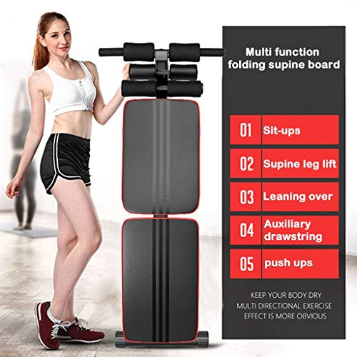 Fitness Equipment - Foldable Decline Sit up Bench Crunch Board Fitness Home Gym Exercise Sport Multi-Function Folding Bench - Adjustable 220lb [US Stock]