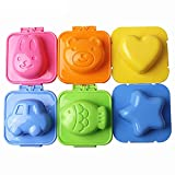 Ogrmar 6PCS Cartoon Cute Boil Egg Mold/Fish Car Heart Shape Egg Sushi Rice Mold Mould/Decorating Fondant Cake Tool (6 pcs)