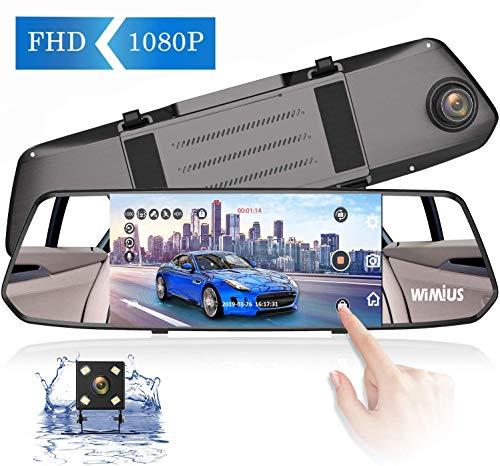 WiMiUS Dash Cam Doppia Telecamera da 7 Pollici Touchscreen Full HD 1080P, Telecamera Grandangolare Anteriore e Telecamera Posteriore Impermeabile, con Sistema di Retromarcia