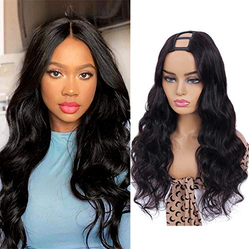 U Part Wig Human Hair Wigs UDU Body Wave Upart Human Hair Wig for Black Women (18inch)Brazilian U Part Clip in Wig Human hair Full Wig with Middle U Shape Glueless Non Lace Front Wig 150% Density