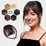 HANYUDIE Clip in Bangs Human Hair Bangs Hairpiece Dark Brown Clip on Air Bangs with Temple Wispy Bangs Hair Extensions for Women (Dark Brown)