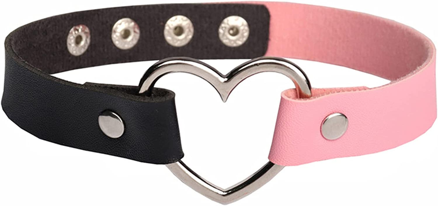 Olbye Heart Love Choker Necklace Black Pink Leather Gothic Necklace Jewelry Rock Punk PU Short Necklace Adjustable Link Collar Necklace for Women and Girls