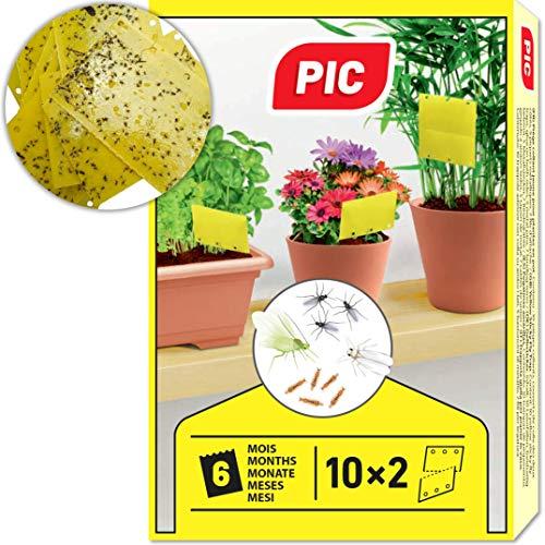 PIC – 20 kleine Gelbsticker, Gegen Trauermücken, Blattläuse, Minierfliegen, Thripsen und weiße Fliegen – perfekt gegen Ungeziefer, Zuhause und auf dem Balkon – Gelbfalle – Gelbtafeln…