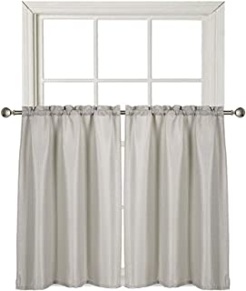 Home Queen Water Repellent Bathroom Window Tier Curtains, Rod Pocket Waffle Weave Textured Curtains for Kitchen Window, 2 Panels, 36 W X 45 L Inch Each, Solid Taupe