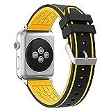 Fmway Silikon Uhrenband Ersatz Armband mit Edelstahl Metall Schließe für Apple Watch Series 4 5 44mm Apple Watch Series 3/2/1 42mm