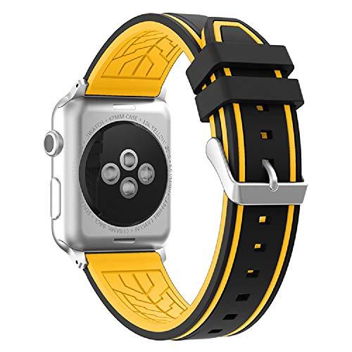 Fmway Repuesto de Correa Reloj de Silicona para Apple Watch Series 4 42mm, Apple Watch Series 3/2/1 42mm, Hombre y Mujer (Apple Watch Series 4, Negro + Amarillo)