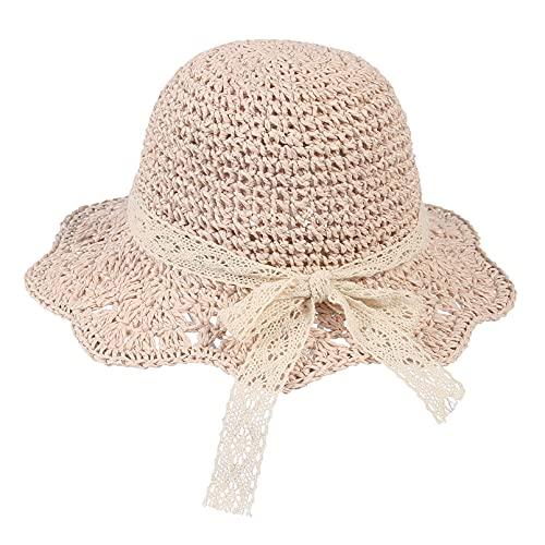 EOZY Sombrero de Paja Niña Gorra de Sol Chica Sombrero de Sol para Niños Anti UV Transpirable al Aire Libre Verano Plegable (52 CM, Rosa)