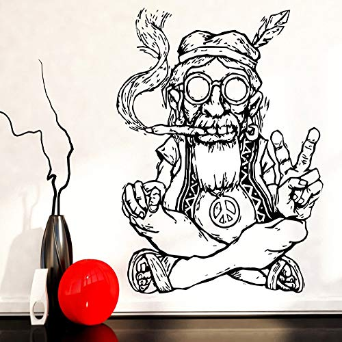 jiuyaomai Smoking Weed Marihuana Peace Wandaufkleber Abnehmbare Vinyl Wandaufkleber Hippie In Glasses Symbol Ethnische Dekor Wandtattoo schwarz 73X107cm