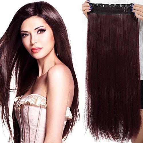 SEGO Extension à Clip Naturel Cheveux Elastique Lisse Monobande - Rajout Cheveux Tout Droit Clip In Hair Extension Hairpiece pour Les Femmes - 66 CM Vin Rouge [1 Pièce 5 Clips]