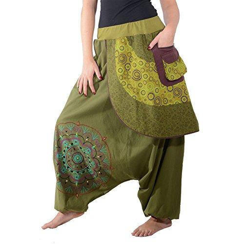 KUNST UND MAGIE Bunte Ibiza Style Haremshose aus Baumwolle Goa Wellnesshose, Größe:S/M, Farbe:Grün
