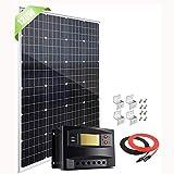 100 watts 100W 12 Volts Panneau solaire monocristallin Kit pour camping car Système hors réseau avec contrôleur de charge/câbles solaires pour la charge de batterie 12V / 24V