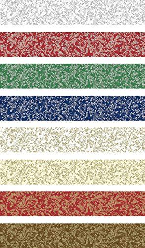 Heyda 204875528 Faltstreifen-Set für Fröbelsterne 1,5 x 45 cm, 8 Farben mit Dekor sortiert