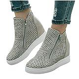 Aniywn Wedge Sneakers for Women High Top Platform Ankle Boots Hidden Wedge Booties Sneaker Shoes Side Zipper Gray
