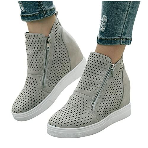 Dasongff Damen Schuhe Freizeitschuhe Flach Teenager Mädchen Mode Große Größe Hohle Outdoor rutschfeste Atmungsaktive Leichtgewicht Doppel Reißverschluss Elegant Casual Kurz Ankle Stiefel