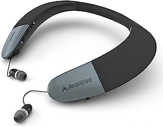 Avantree Wearable Wireless Speaker, Bluetooth 5.0, aptX HD, Low Latency, Personal Neckband Speakers With Retractable Earbu...
