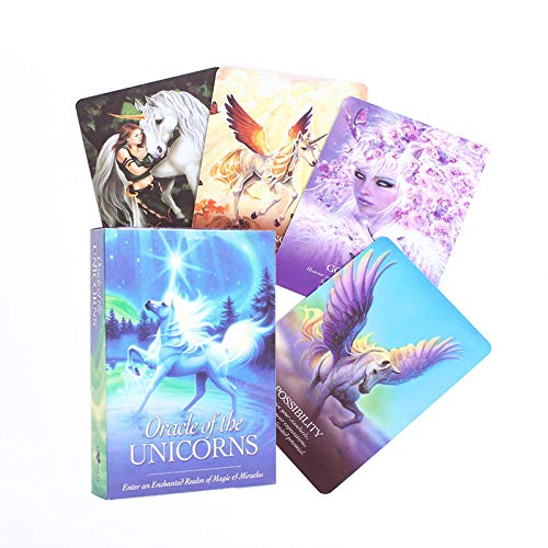 Tarot Cards,Oracle of The Unicorns:Enter an Enchanted Realm of Magic Full English Deck Mysterious Tarot Cards Divination Fate Board Game