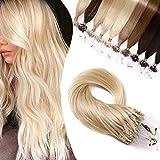 Elailite Extensiones Micro Ring Pelo Natural 1 Gramo 50 Mechas Anillas Cabello Humano sin Clip 100% Remy Human Hair 40cm 50g #613 Rubio Muy Claro