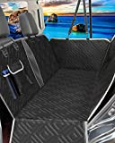 F-color Dog Car Seat Cover, Waterproof Dog Hammock with Visual Mesh Window, Nonslip Dog Back Seat Cover with Side Flaps and Storage Pockets for Cars Trucks SUVs, Black
