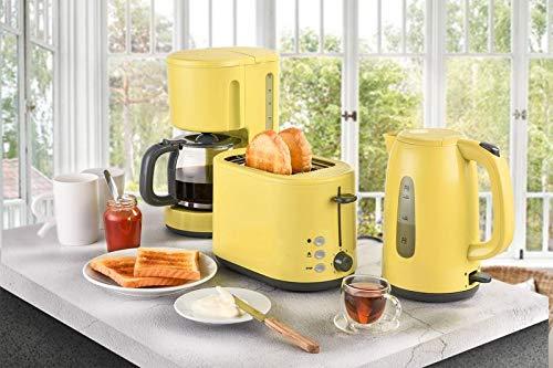 Frühstücksset 3-teilig Filterkaffeemaschine Wasserkocher Toaster Set Gelb