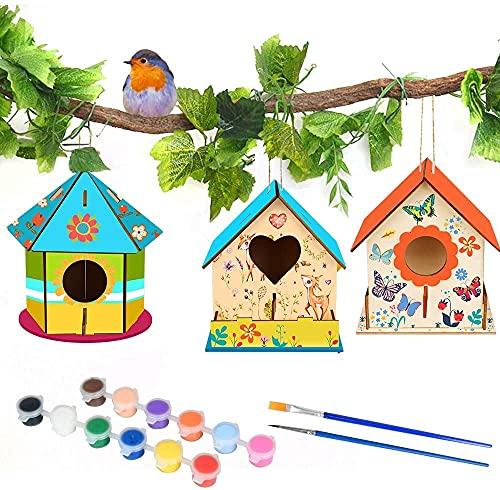 MMTX Casette di Legno per Gli Uccelli Fai-da-Te Kit, Grande Casetta Uccelli in Legno Pittura Kit Materiale Kit per Lavoretti Creativi Costruire Casetta Uccelli Giocattoli per Bambini( 3 Pezzi )