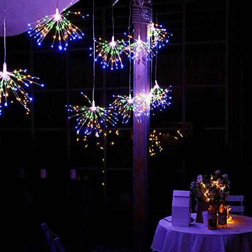 Sunydog 200 LED Luces de hadas de colores Fuegos artificiales en forma de cadena de luces decorativas para colgar 8 modos de luces Lámparas de alambre de cobre Bombillas Iluminación impermeable del ja