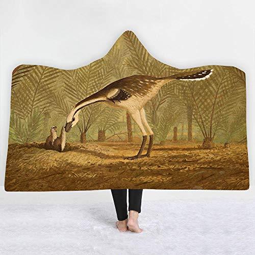 SKYZAHX Manta con Capucha de vellón para Niños y Adultos Dinosaurio Animal del Bosque Amarillo 3D Estampada Capa Siesta ponible Mantas de Viaje para Ropa de Dormir/Vacaciones/Casual 130x150cm