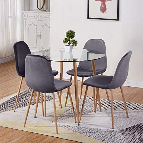GOLDFAN Round Glass Dining Table and 4 Chairs Modern Kitchen Dining Table and Fabric Velvet Chairs Dining Table Set,90CM/Grey