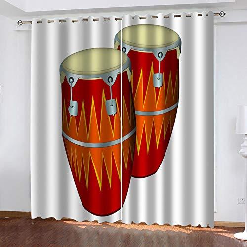 WUBMQ Cortinas Opacas Resistente Al Calor Y La Luz Para Salón Dormitorio Oficina Cortina,3D Tambor De Instrumento Musical Rojo 280X260Cm Modernos Cortinas Colgando De La Barra De La Cortina - 2 Panele