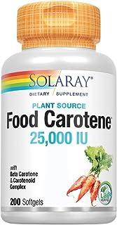 Solaray Food Carotene, Vitamin A as Beta Carotene 25000IU | Carotenoids for Healthy Skin & Eyes, Antioxidant Activity & Im...