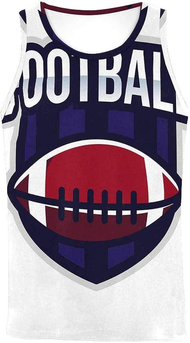 InterestPrint Men's Muscle Gym Workout Training Sleeveless Tank Top American Football Logo Sport