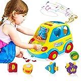 ACTRINIC Baby Spielzeug 12-18 Monate,Musikbus für Früherziehung,Verschiedene Tiergeräusche,Musik,Licht und Tierpuzzle,Kleinkinder Säugling Jungen Mädchen 1 2 3 Jahre alt Geschenke