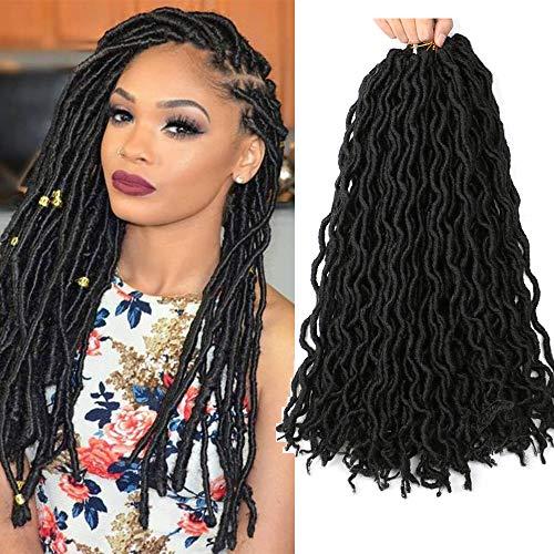 Faux Locs Ondulés Crochet Cheveux 6 Packs 18 Pouces Passion Twists Cheveux Synthétique Crochet Cheveux Extension (1B)