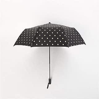 AUWANGAOFEI 8 Dots Straight Shank Bone Sun Umbrella Folded Umbrella Shade (Color : Black)