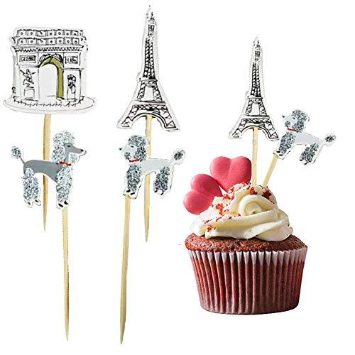 PARIS, Torre Eiffel, Arco de Triunfo y Caniches, Decoración Torta Pastel Cupcake Pics Topper Fiesta de Cumpleaños, Casamiento, Decoración de Mesa (24 unidades)