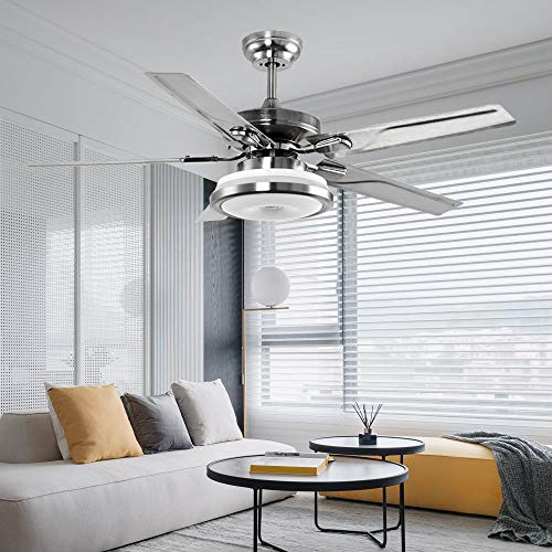 LuxureFan 48Inch Led Metal Ceiling Fan Light 3 Colors Change Led Light 5 Premium Stainless Steel Blades Decoration Home Modern Ceiling Fan with Remote